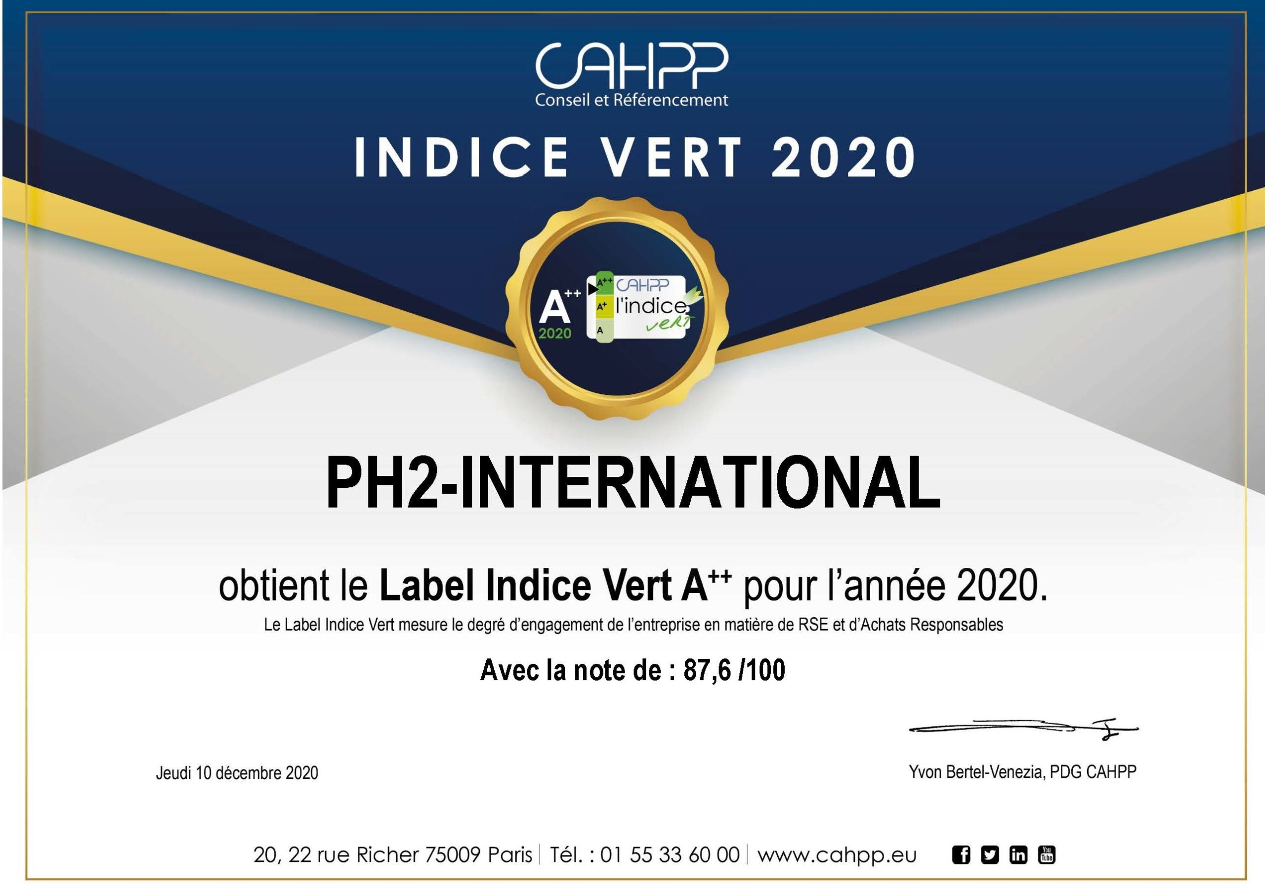PH² International – Indice Vert CAHPP 2020